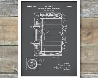 Beer Barrel Patent Print, Art Print, Patent Poster, Beer, Beer Art, Beer Decor, Bar, Spirits, Beer Print, Beer Keg, P306