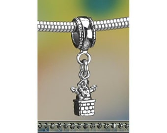 Sterling Silver Christmas Eve Charm or Bracelet Santa Claus in Chimney