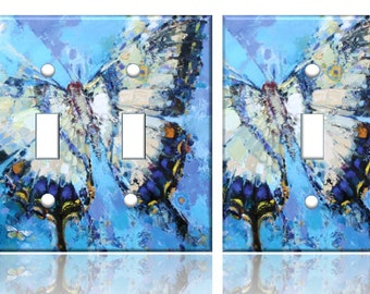 Blue Butterfly Light switch plate wall cover // SAME DAY SHIPPING**!