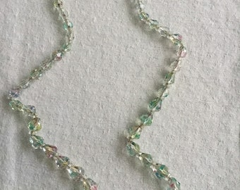 Vintage graduated crystal bead necklace on a chain