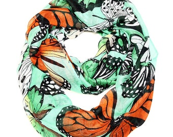 Exotic Monarch Butterfly Infinity Scarf in Mint