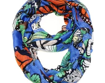 Exotic Monarch Butterfly Infinity Scarf in Cobalt Blue