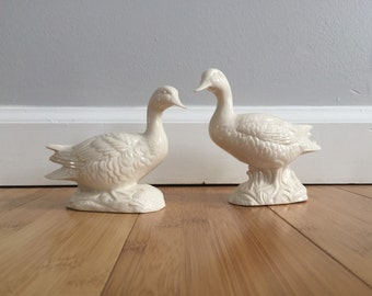 Lovely Pair of Handmade Ceramic Geese Figures made in 1965