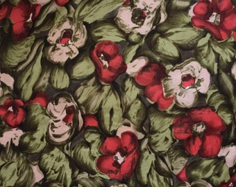 vintage 1950s floral scarf // 50s floral poppies scarf