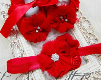 Red Lace Baby Girl Shoes and Headband Set