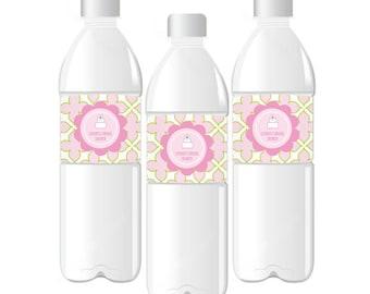 Bridal Shower Water Bottle Labels-Pink Cake Water Bottle Labels-Custom Water Bottle Labels (set of 24)