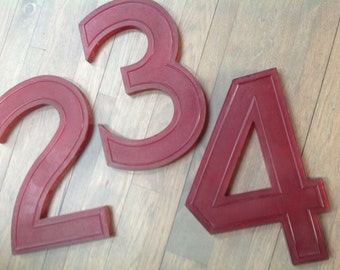 Red Extra large vintage numbers  commercial industrial hard plastic