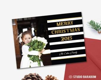 Printable Christmas photo card, Holiday photo card - HLDP01