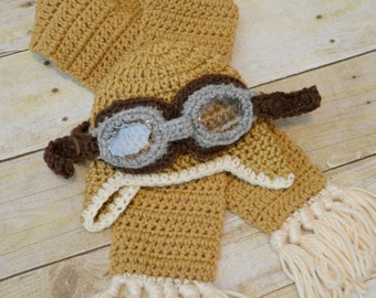 Baby Aviator Hat with Goggles & Scarf 3pc. Set~Photo Prop/Baby Gift