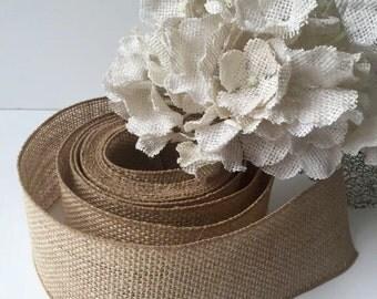 BURLAP Ribbon (Wired) Mason Jar Wrap -Wedding Decor - Burlap Wreath - Rustic wedding - Rustic decor - Burlap bow - DIY IDEA - Burlap by yard