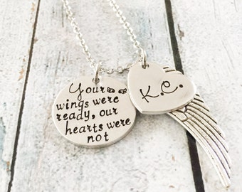 Memorial necklace - Hand stamped necklace - Loss necklace - Remembrance jewelry - Memorial necklace - An angel watches over - Loss necklace