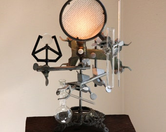 Steampunk lamp industrial desk chemistry table light cool science antique biology laboratory apothecary Edison bulb