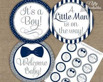 Bow Tie Baby Shower Cupcake Toppers   Printable Navy Blue Bow Tie Shower  Decorations   Navy