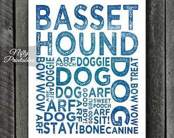Basset Hound Print - INSTANT DOWNLOAD Basset Hound Art - Basset Hound Poster - Basset Hound Gifts - Printable Basset Hound Wall Art