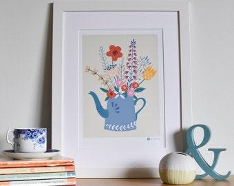 Floral Tea Pot Print