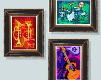 3 Modern Instruments, Guitar, Horns, Drums, 3 Digital Download Files, Music Art, Jazz Instruments, Mid-Century Jazz, Charlie Parker, Jazzy