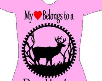 My heart belongs to a deer hunter glitter heat transfer, glitter iron on, custom vinyl iron on