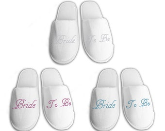 Bride To Be Personalised wedding Slippers, Bridal party gifts, Spa Slippers, Personalized bridal slippers, Bridesmaid Gifts, hen slippers