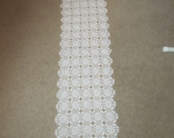 "Hand Crocheted Table Runner or Dresser Scarf 61 x 12"" in Soft White"