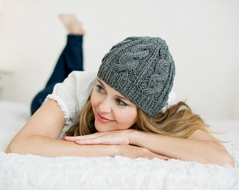 Hand Knitted Women's Girls Teens Boho 100% Natural Soft Cotton Cable Knit Beanie Hat Cap Toque Gray Or White