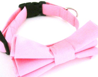 Pink dog collar with bow tie Dog bow tie collar