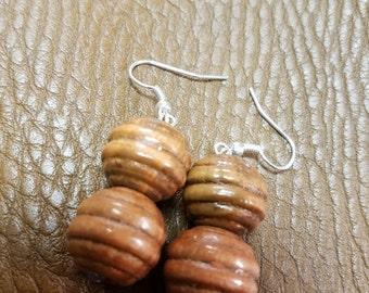 Cherry wood honeycomb earrings