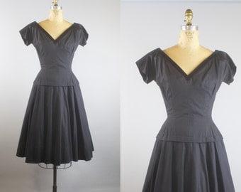 Back to Black Dress  / 50s Dress  / Black Cotton Peplum Dress