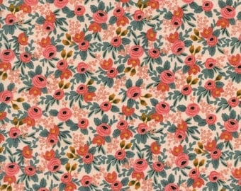 Half Yard Rosa Peach Rifle Paper Co Les Fleurs for Cotton and Steel
