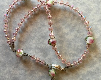 Traditional Full Rosary 5 Decade Bracelet/Pink Crystal/Free US Shipping!