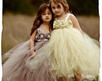 On Sale!! Gray Flower Girl Dress, Gray tutu dress, Grey Flower Girl Dress, Grey tutu dress, Silver Flower Girl Dress, Silver Tutu Dress