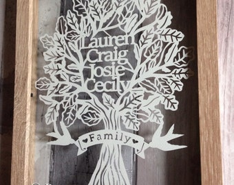 Family Tree Papercut - A4 - Art - Personalised - Papercutting - art -   - framed - bespoke - Paper cut - bird -