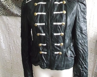 STEAM/PUNK Ladies faux leather military style crinkle effect jacket size 14/XL