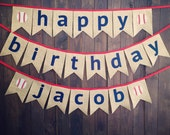 Baseball Happy Birthday Party Decorations Sports Burlap Banner Red Navy Fabric for First Birthday Party Decoration or Photo Prop, Reusable
