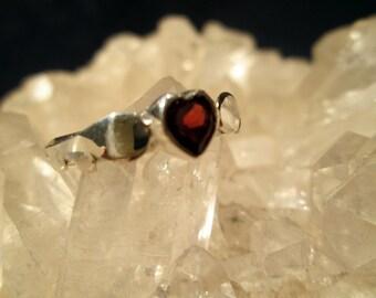 Winged Garnet Heart Ring ~Handmade~ Sterling Silver