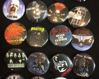 004 Glam Heavy Metal Hard Rock Southern Button, Pin, Badge