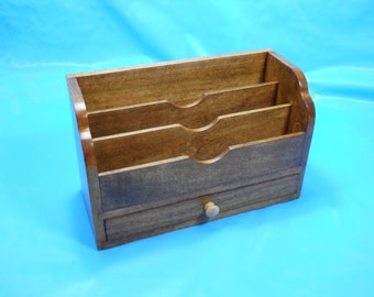 Wood Office Desk File Organizer Mail Sorter with Storage Drawer