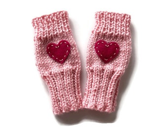Cute Toddlers Fingerless Gloves, Valentine Kids Gloves, Sweetheart Gloves, Valentine Heart Gloves, Pink Heart Gloves, Small Cute Kids