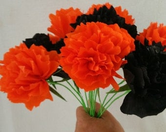 Day of the dead 12 marigolds crepe paper flowers dia de los only 150 each 12 halloween crepe paper peony flowers peonies party decoration mightylinksfo
