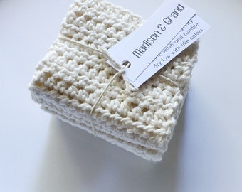Crocheted Dishcloth Set- Cream