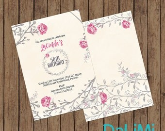 5 x 7 inch Floral Party Invitation - Birthday Invitation - Baby Shower Invitation - 50th Birthday Invitation - Printable Invitation!