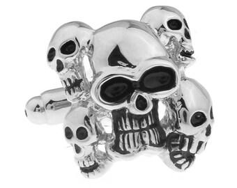 Silver Skull Demons Souls of Deadheads Cufflinks Cuff links Halloween Cufflinks