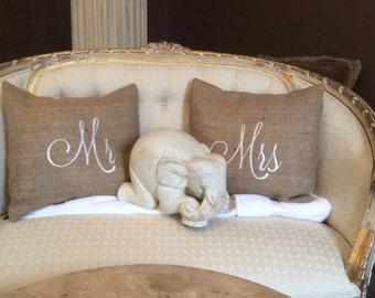 Mr & Mrs  monogrammed pillows