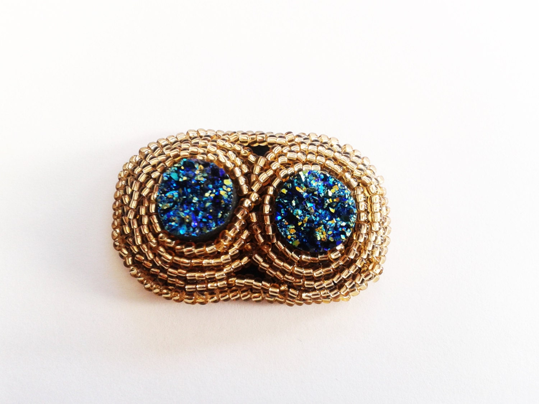 Bead embroidery brooch druzy cabochonbeadwork by tizianat