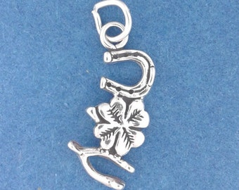 LUCKY Charm .925 Sterling Silver, Four Leaf Clover, Horseshoe, Wishbone Pendant - lp2869