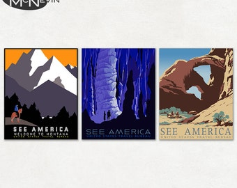 SEE AMERICA 3-Pack, Vintage 1930's WPA Poster Reproduction, United States Travel Posters