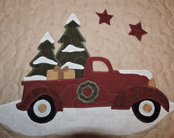 """Old Red Truck Getting Ready for Christmas - Wall Warmer or Mini Quilt   21 1/2"""" x 17 1/2"""""""