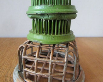 Three Vintage Flower Frogs - Flower Cage - Metal Round Flower Frog - Country - Green Flower Frogs - Artist Paint Brush Holder - Photo Holder