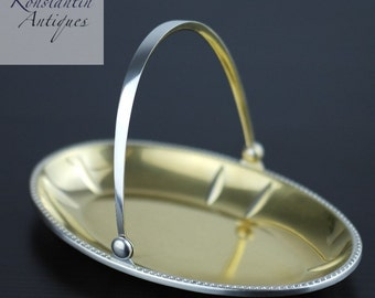 Vintage solid silver gold plated candy dish Russian USSR 875 c.1927-1953