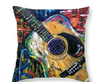 "Decorative Throw Pillow From My Original Guitar Painting ""Tupelo Honey"""