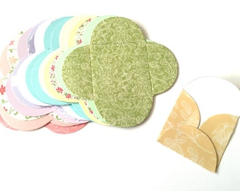 15 Cute Mini Pastel Patterned Petal Square Envelopes Notelets Note Cards for Card making Scrapbooking Crafting